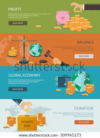 Concepts for finance and stock market, investing, making money, profit, piggy bank, donation. Flat style. Can be used for infographics, web design, diagram, banners, promotional materials, etc.