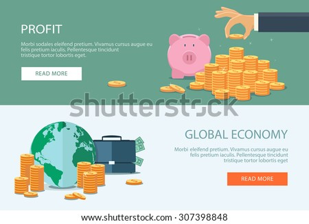 Concepts for finance, stock market and business, investing, making money, profit, piggy bank. Can be used for infographics, web design, diagram, banners, promotional materials, etc.