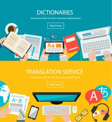 Concepts for foreign language translation process, dictionaries in flat design style. Web banners set with top view desk, people, laptop, computer, tablet, dictionary, books, flags, headphones