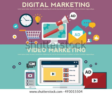 Concepts for video marketing, digital marketing, advertising, social media, web and mobile apps and services, e-commerce, SEM. Concepts for website banners and printed materials