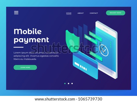 Concepts mobile payments, personal data protection. Header for website with smartphone and Bank card on blue background. Design for Landing Page. 3d isometric flat design. Vector illustration.