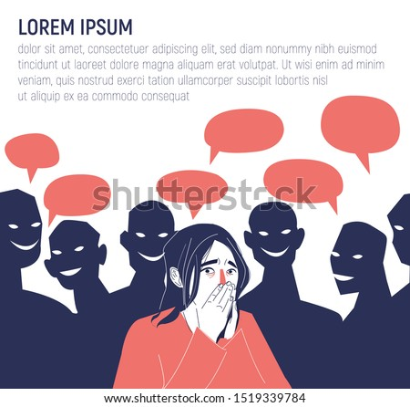 Concepts of depression, fatigue, mental disorder, psychological problem and psychotherapy. Anxiety disorder. Stressed woman illustration. Conceptual illustration for bullying, gossiping, slander