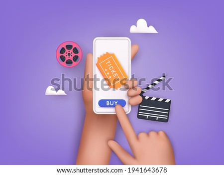 Concepts of online cinema ticket order. Hand holding mobile smart phone with online buy app. 3D Web Vector Illustrations.
