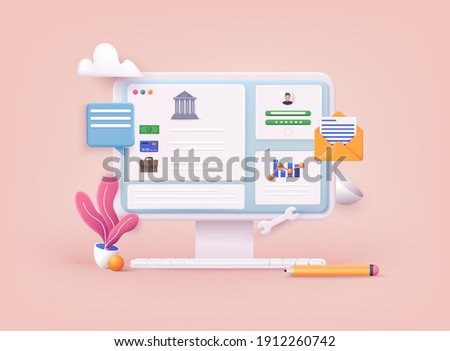 Concepts of online payment methods. Internet banking, purchasing and transaction, electronic funds transfers and bank wire transfer.  3D Vector Illustrations.
