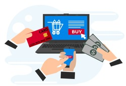 Concepts of online payment methods, online payments, confirmed finance people hands mobile banking workplace vector illustration in flat style.