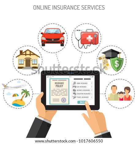 Concepts online insurance services. Man holding tablet pc in hand and touching buy app. Flat style icons Car, House, Medical, Education and Vacation. Isolated vector illustration.