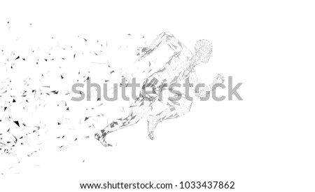 Conceptual abstract running man. Runner with connected lines, dots, triangles, particles on white background. Artificial intelligence, digital sport concept. High technology vector digital background stock photo