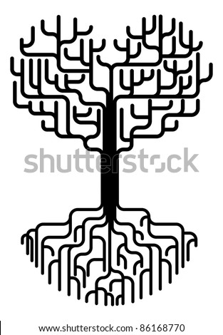 Conceptual abstract tree silhouette illustration. Tree with branches in the shape of a heart with strong roots. Love needing strong foundations or just concept for love.
