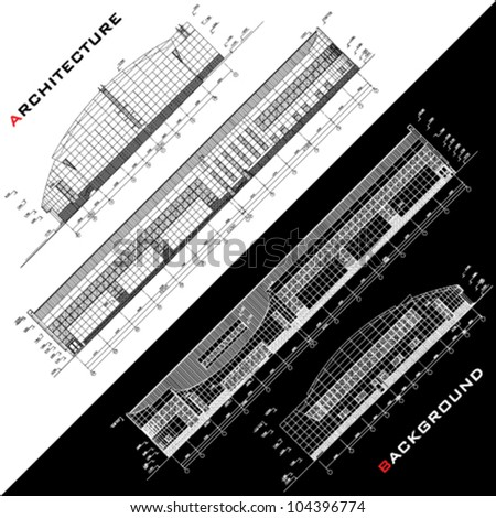 Conceptual architectural background. Part of architectural project, architectural plan, technical project, drawing technical letters, architect at work, planning on paper, construction plan