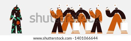 Conceptual background. Running crowd and mysterious figure