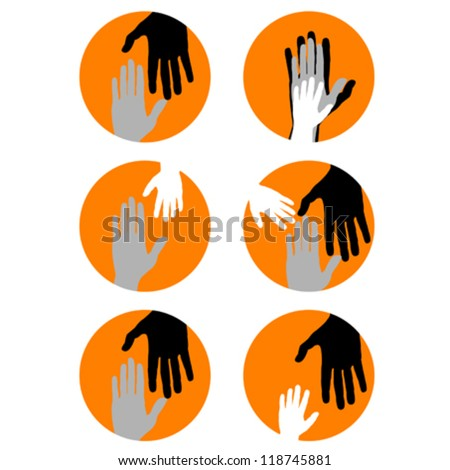 Conceptual background with hands, family symbols