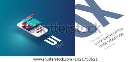 Conceptual banner, booklet, brochure. User experience, user interface. 3d phone with the layout of the web page. Mobile interface with vertically divergent layers of the frame interface. Mobile app