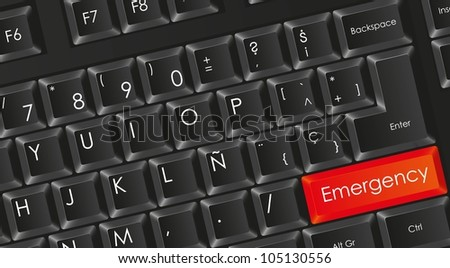 conceptual black keyboard with letters in white with red emergency button, vector illustration