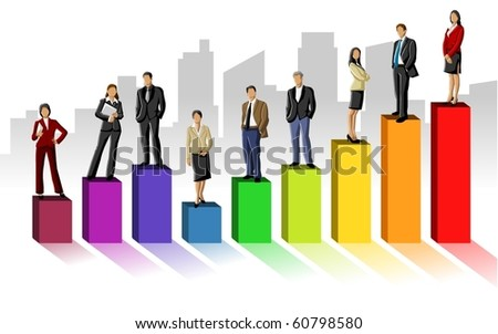 Conceptual business illustration of office people
