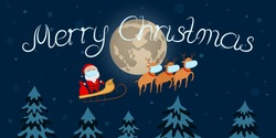 Conceptual Christmas greeting card. Santa Claus and reindeer team in medical masks. Vector illustration.