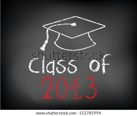 Conceptual Class of 2012 statement written on black chalkboard and graduation cap. Vector Illustration.
