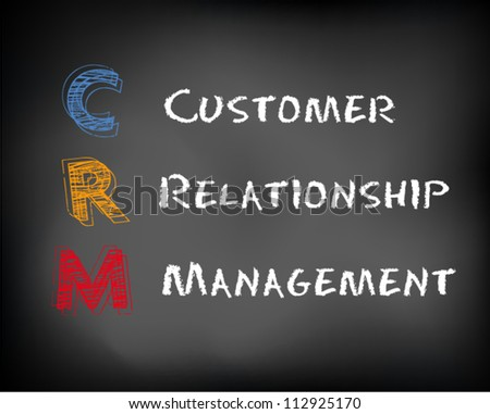 Conceptual CRM acronym concept on black chalkboard. Customer Relationship Management slide concept. Vector Illustration.