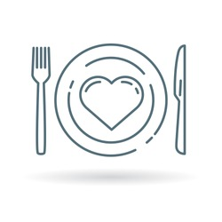 Conceptual eat healthy icon. Heart and dining plate sign. Concept eat well for your health symbol. Thin line icon on white background. Vector illustration.