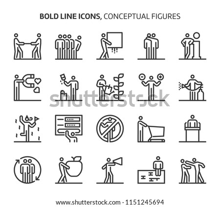 Conceptual figures, bold line icons. The illustrations are a vector, editable stroke, 48x48 pixel perfect files. Crafted with precision and eye for quality.