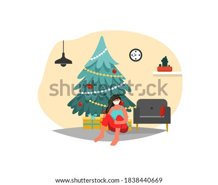 Conceptual flat illustration of Christmas alone. A girl in a medical mask at home for Christmas alone. Coronavirus at Christmas. New Year. Christmas tree. Loneliness Covid 19