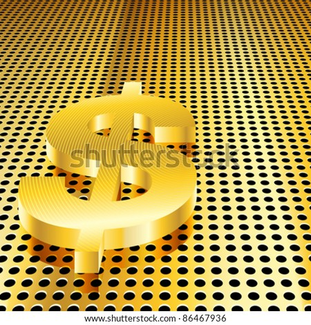 Conceptual gold dollar background (EPS10 - Gradient, Transparency, Mesh)