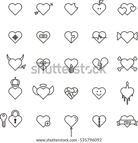 conceptual hearts outline icons