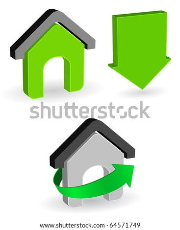conceptual house icon with arrows