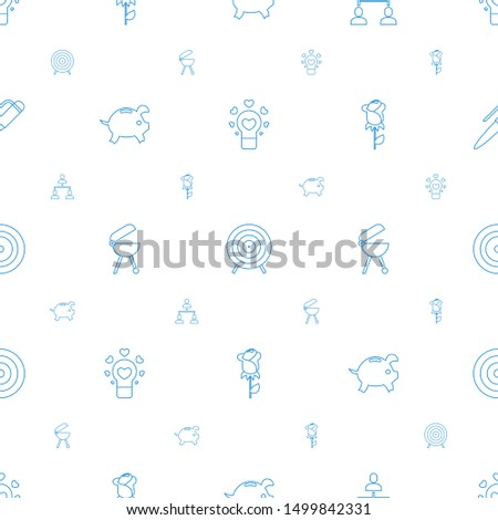 conceptual icons pattern seamless white background. Included editable line bulb heart, target, structure, piggy bank, bbq, rose, office room icons. conceptual icons for web and mobile.