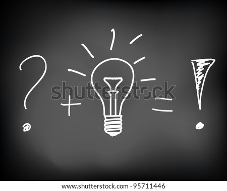 Conceptual idea of incandescent light bulb drawn on black chalkboard - vector illustration