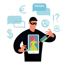 Conceptual illustration about online fraud, cybercrime, data hacking. The girl on the screen the phone and the dark silhouette of a fraudster stealing money and a bank card. Flat vector illustration