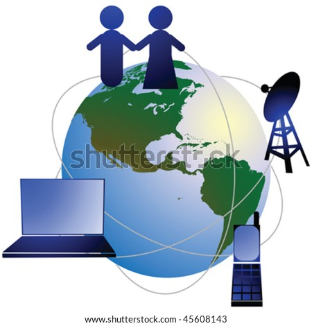 Conceptual illustration for network, isolated and gruped icons over white background