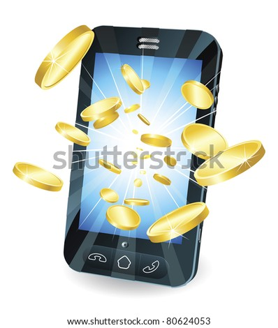 Conceptual illustration. Money in form of gold coins flying out of new style smart mobile phone.