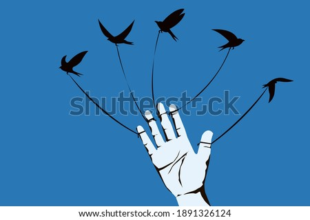 Conceptual illustration of a birds tied to five fingers of a human hand are trying fly away Stock photo ©