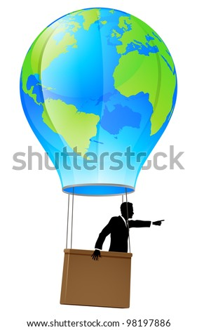 Conceptual illustration of a business man in a business suit in a hot air balloon with a world globe on it pointing forward and going ahead.