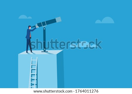 Conceptual illustration of a business man standing on a high altitude platform looks through a telescope.  Stockfoto ©