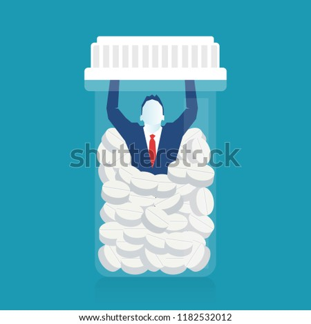 Conceptual Illustration of a Drug Addict Overwhelmed by Illegal Drugs trying to get sober clean Asking for Help. Eps 10 Vector illustration, horizontal image, Minimalist white blue flat design.