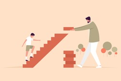 Conceptual illustration of a father building steps for his son to climb up. A father's day concept