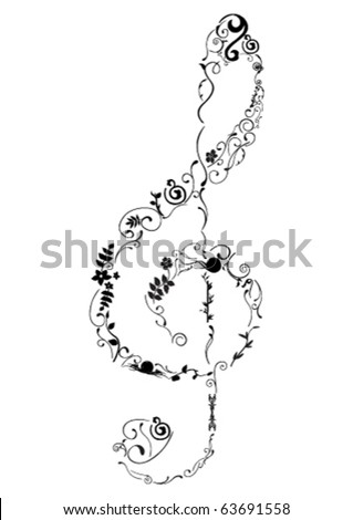 stock vector : Conceptual illustration of a G clef