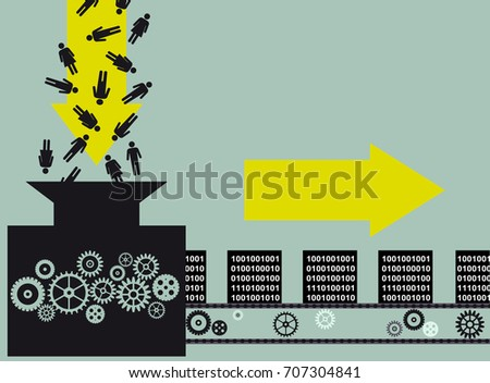 Conceptual illustration of a machine, converting  symbols of people into blocks of information, EPS 8 vector illustration
