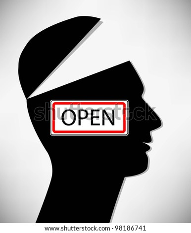 Conceptual Illustration of a open minded man. A man with an open head