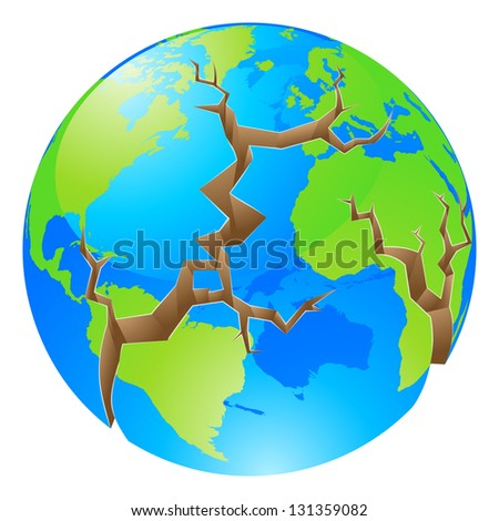 Conceptual illustration of a world crisis concept. The globe with big cracks opening up round it, could a concept for environmental problems or similar.