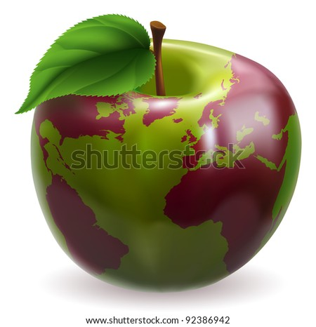 Conceptual illustration of an apple with color on skin forming the world globe