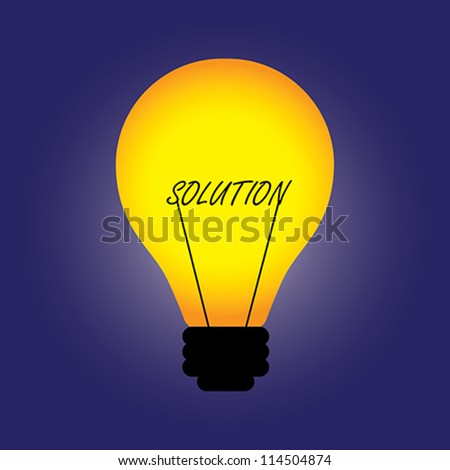 Conceptual illustration of bulb with filament replaced by solution word. The graphic can also represent problem solving, idea creation, innovation, creative solution, etc.