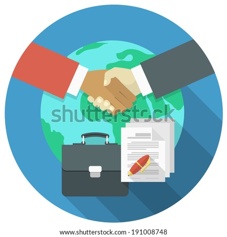 Conceptual illustration of international business cooperation and partnership