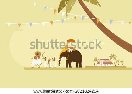 Conceptual illustration of King 'Mahabali' walking with people playing percussion instruments and and an elephant. Concept for Onam Festival in Kerala, India