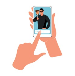 Conceptual illustration of online fraud, cybercrime, data hacking. Fraudster on the phone screen, hands are holding the phone. Flat vector illustration.