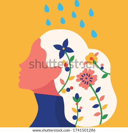 Conceptual illustration of taking care and nurture our mental health.Flower growing as the concept of cultivate positive mindset ,and watering it as an act of taking care of our mental health.