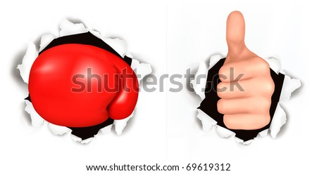 Conceptual illustration of thumb up. Hand with thumb up has broken through a paper and Red boxing glove. Vector illustration.