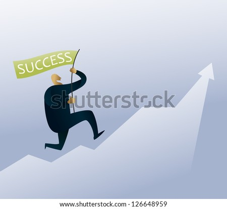 Conceptual illustration: person running a successful start up
