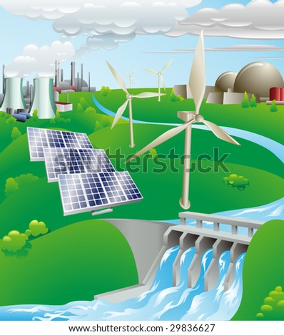 Conceptual illustration showing many different types of power generation, including nuclear, fossil fuel, wind power, photovoltaic cells, and hydro electric water power